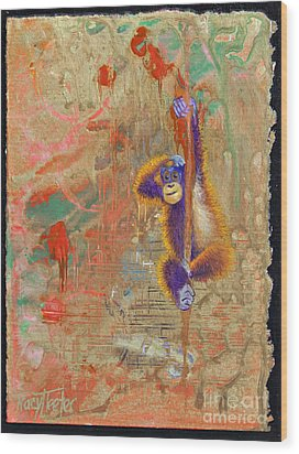 Orangutan Abstract Wood Print by Tracy L Teeter