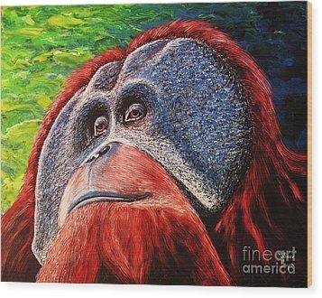 Orangutan Wood Print by Viktor Lazarev