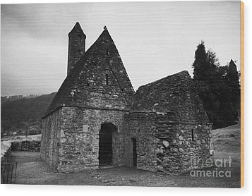 Oratory Known As St Kevins Kitchen Glendalough Monastery County Wicklow Republic Of Ireland Wood Print by Joe Fox