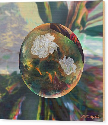 Wood Print featuring the painting Oriental Abstract  by Robin Moline