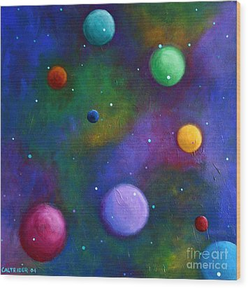 Wood Print featuring the painting Orbs In Space by Alison Caltrider