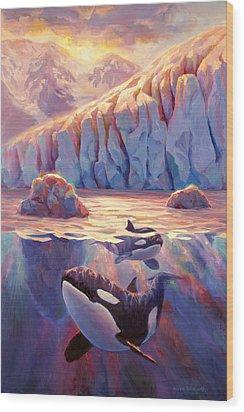 Orca Sunrise At The Glacier Wood Print by Karen Whitworth