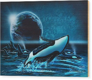 Orcas At Night Wood Print