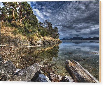 Orcas Island Waterfront Wood Print