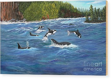 Wood Print featuring the painting Orcas by Myrna Walsh