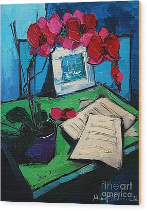 Orchid And Piano Sheets Wood Print by Mona Edulesco
