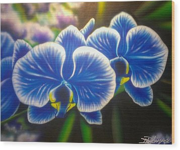 Orchid-strated Blues Wood Print