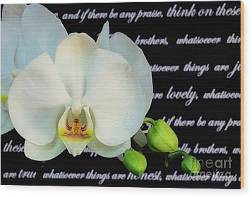 Orchids And Scripture Wood Print by Pattie Calfy