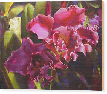 Orchids In Magenta Wood Print by Karen Whitworth