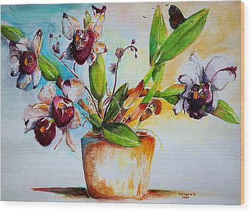 Wood Print featuring the painting Orchids Of The Bay by Bernadette Krupa