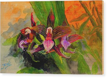 Wood Print featuring the painting Orchiid by Jason Sentuf