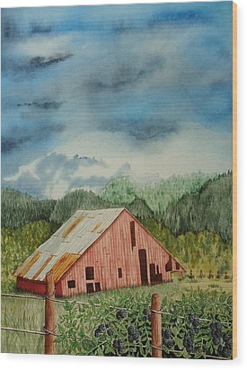 Wood Print featuring the painting Oregon Barn by Katherine Young-Beck