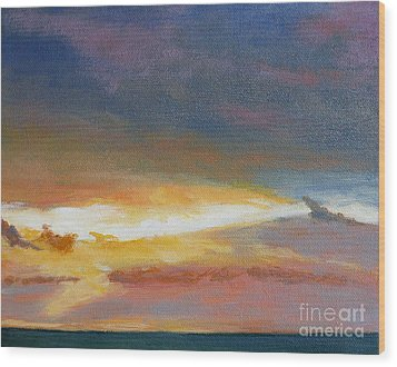 Oregon Coast Sunset Wood Print by Melody Cleary