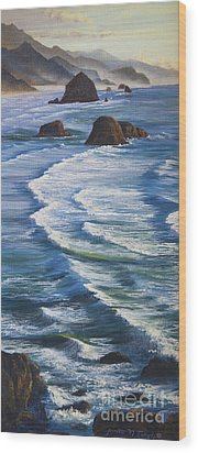Wood Print featuring the painting Oregon Coastline by Jeanette French