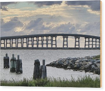 Oregon Inlet Bridge And Pilings Wood Print by Patricia Januszkiewicz