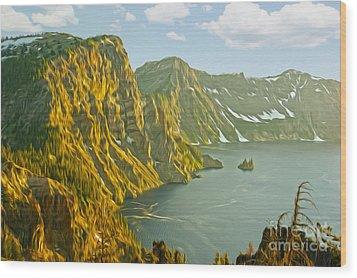 Oregon Lake Time Wood Print by Nur Roy