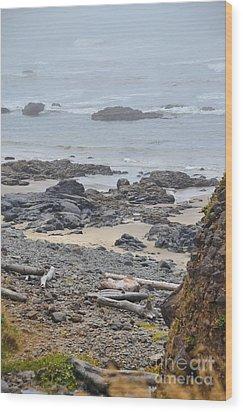 Oregon Rocks Wood Print by Shauna Fackler