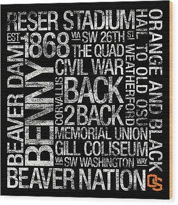 Oregon State College Colors Subway Art Wood Print by Replay Photos