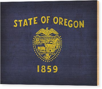 Oregon State Flag Art On Worn Canvas Wood Print by Design Turnpike