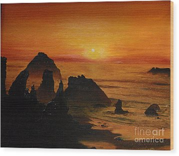 Wood Print featuring the painting Oregon Sunset by Suzette Kallen