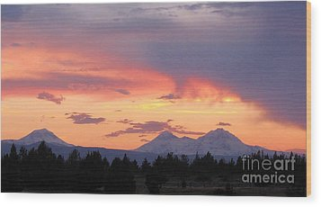 Oregon's Three Sisters  Wood Print by Michele Penner