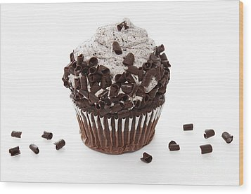Oreo Cookie Cupcake Wood Print by Andee Design