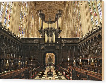 Organ And Choir - King's College Chapel Wood Print by Stephen Stookey