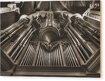 Organ In Sepia Wood Print by Charles Lupica