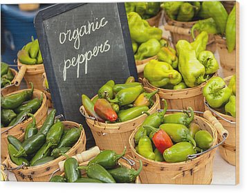 Organic Peppers At Farmers Market Wood Print by Teri Virbickis