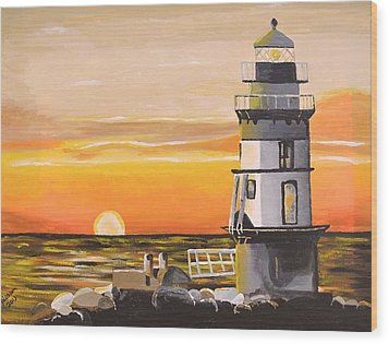 Orient Point Lighthouse Wood Print by Donna Blossom