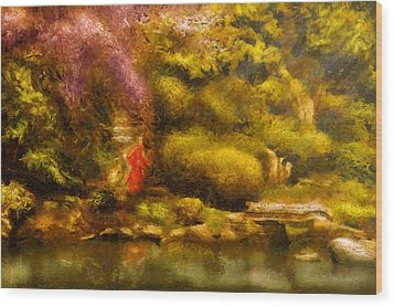 Orient - The Japanese Garden Wood Print by Mike Savad