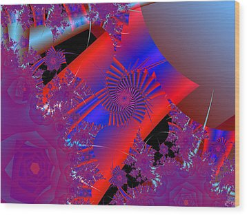 Wood Print featuring the digital art Oriental In Red by Ann Peck