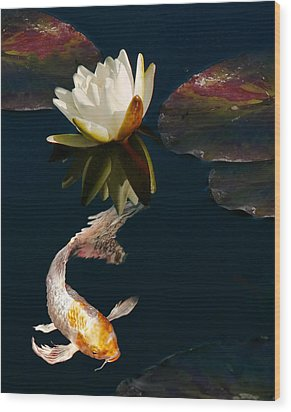 Oriental Koi Fish And Water Lily Flower Wood Print by Jennie Marie Schell