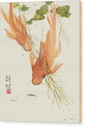 Oriental Koi II Wood Print by Sandy Linden