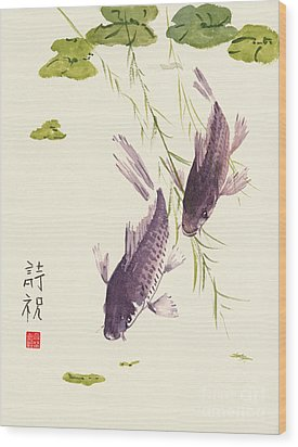 Oriental Koi IIi Wood Print by Sandy Linden