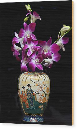 Oriental Orchids. Wood Print by Terence Davis