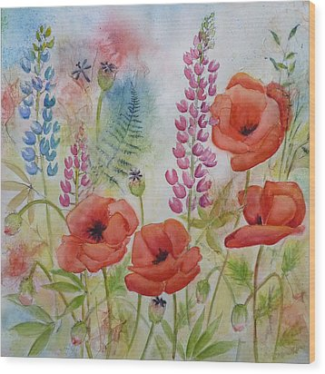 Oriental Poppies Meadow Wood Print by Carla Parris