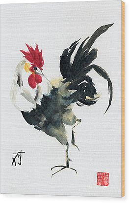 Oriental Rooster Wood Print by Sandy Linden
