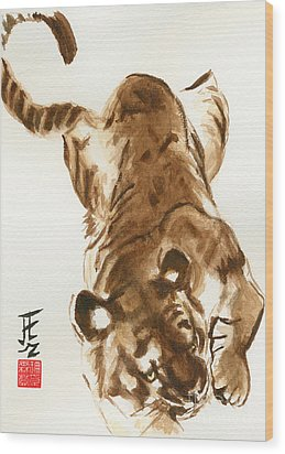Oriental Tiger Wood Print by Sandy Linden
