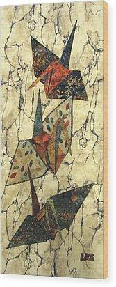 Origami Cranes Wood Print by Lynda K Boardman