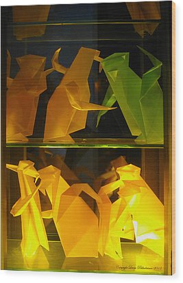 Origami Wood Print by Leena Pekkalainen