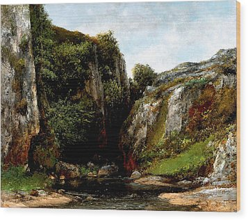 Wood Print featuring the digital art Origin Of A Stream by Gustave Courbet