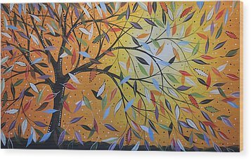 Wood Print featuring the painting Original Abstract Painting Landscape Print ... Into The Wind by Amy Giacomelli