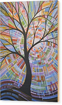 Wood Print featuring the painting Original Abstract Tree Landscape Painting ... Here Comes The Sun by Amy Giacomelli