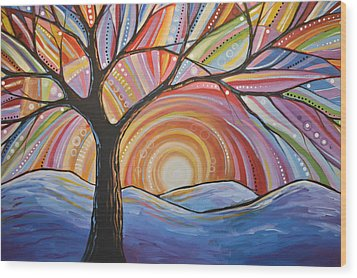 Wood Print featuring the painting Original Abstract Tree Landscape Painting ... Mountain Majesty by Amy Giacomelli