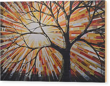 Wood Print featuring the painting Original Abstract Tree Landscape Painting ... Shine by Amy Giacomelli