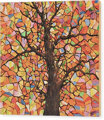 Original Abstract Tree Landscape Painting ... Stained Glass Tree #2 Wood Print