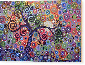 Wood Print featuring the painting Original Abstract Tree Landscape Painting ... The Coming Day by Amy Giacomelli