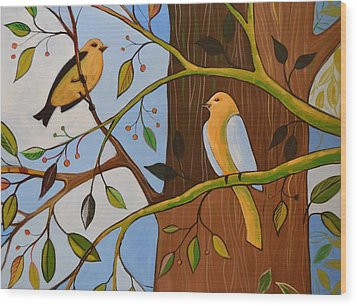 Wood Print featuring the painting Original Animal Birds Art Painting ... Birds In The Garden by Amy Giacomelli