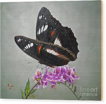 Original Animal Oil Painting Art-the Butterfly#16-2-1-09 Wood Print